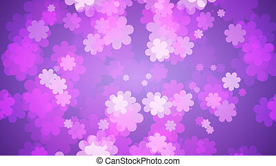 Soft Purple Floral Background. Flowers Spreading Out On Purple Gradient . Spring Concept