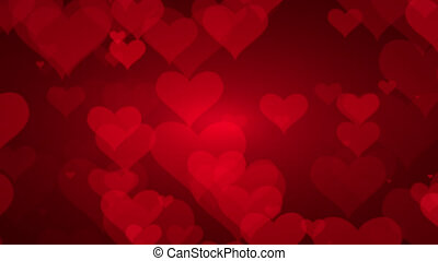 Soft Red Background With Hearts. Valentines Day Concept