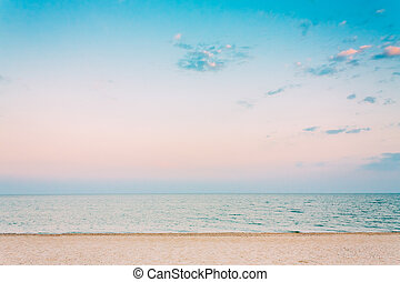 Soft Sea Ocean Waves Wash Over White Sand, Beach Background...