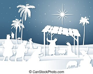Soft shadows White Silhouette Christmas Nativity scene with Magi