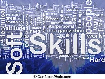 Background concept wordcloud illustration of soft skills international