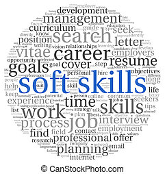 Soft skills concept on white - Soft skills concept in word...