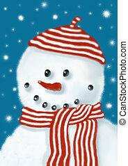 Soft snowman - Soft smiling snowman, illustration, painting,...