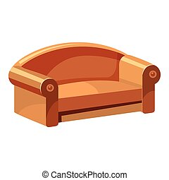 Soft sofa for living room icon, cartoon style