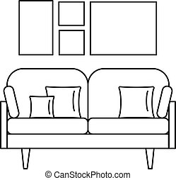 Soft sofa icon, outline style