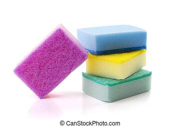 soft sponge isolated on white background