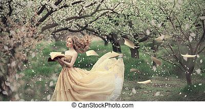 Soft spring tenderness - Princess looking girl walks in...