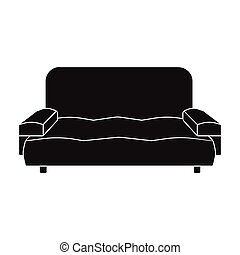 Soft, stylish and comfortable sofa. Furniture single icon in black style Isometric vector symbol stock illustration web.