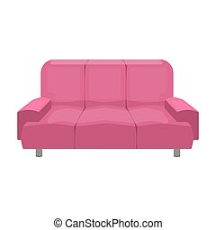 Soft, stylish and comfortable sofa. Furniture single icon in cartoon style Isometric vector symbol stock illustration web.