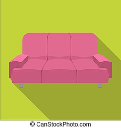 Soft, stylish and comfortable sofa. Furniture single icon in flat style Isometric vector symbol stock illustration web.