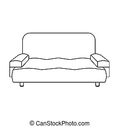 Soft, stylish and comfortable sofa. Furniture single icon in outline style Isometric vector symbol stock illustration web.