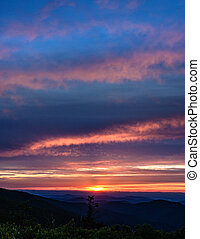 Soft Sunset Light Fades Over Blue Ridge Mountains