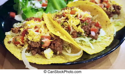 Soft Taco with meat salsa and salad - Soft Taco shells...