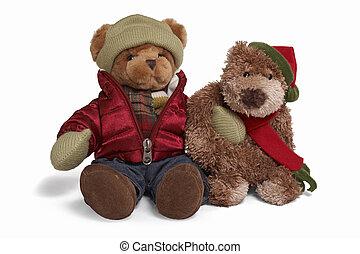 Soft teddy bear couple - Isolated teddy bear couple sitting...