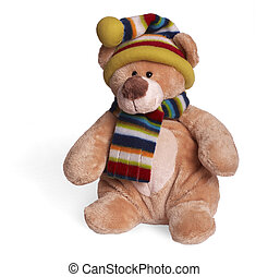 Isolated teddy bear sitting at white background. Soft children toy in winter clothing