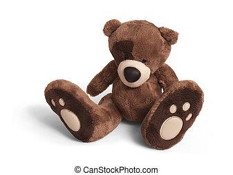 Soft teddy bear - Isolated teddy bear sitting at white...
