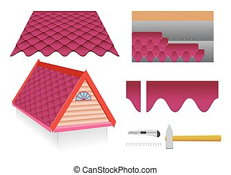 Soft tile roof and construction tools on a white background.