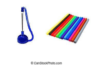 soft-tip, kugelschreiber, und, stift
