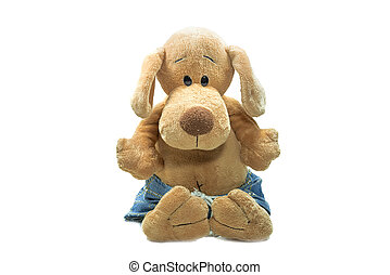 Soft toy dog, isolate on a white background