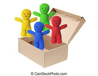 Soft Toy Dolls and Cardboard Box