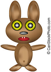 Soft toy - rabbit (hare) on white background