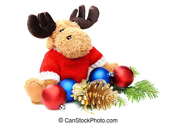 Soft toys and Christmas balls on white background.