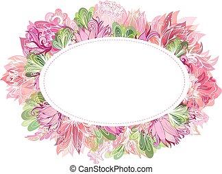 Soft Vector Oval Floral Frame