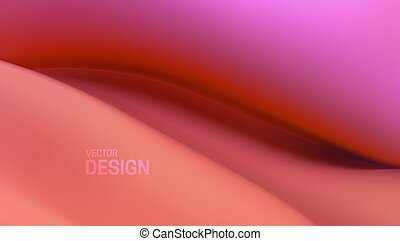 Soft viscous pink wave. Abstract colorful liquid background. Vector 3d illustration. Fluid dynamic texture. Minimalist cover template. Decoration element for poster or landing page