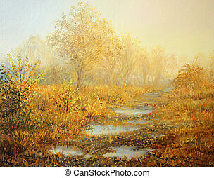 Soft Warmth - An oil painting on canvas of a warm, misty...