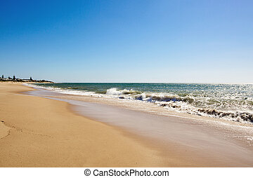 Soft wave of the sea on sandy beach
