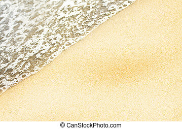 Soft wave of the sea on the sandy beach, water frame