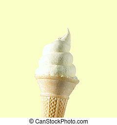 Soft Whipped Ice Cream In A Wafer Cone