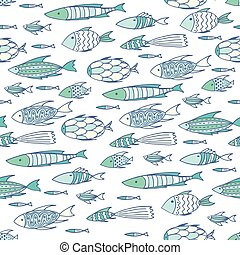 Soft white pattern with shoal of fishes - Seamless pattern...