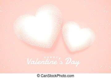 soft white valentines hearts on pink background