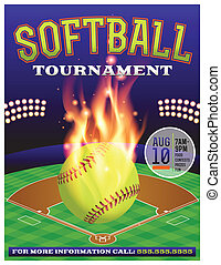 softbal, illustratie, toernooi