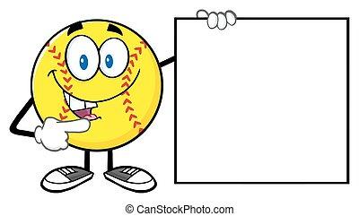 softbal, richtend aan, een, leeg teken