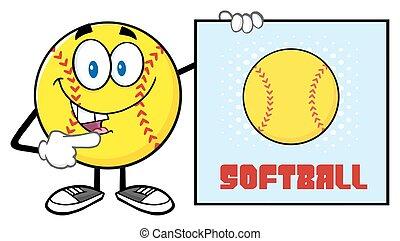 softbal, richtend aan, een, meldingsbord