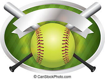 Softball and Bat Emblem Banner Illustration - An ...