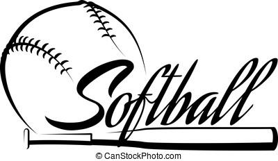 Softball Ball Banner - Stylized softball with the word...