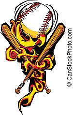softball, baseball ball, und, fledermäuse, brennender, karikatur, abbildung
