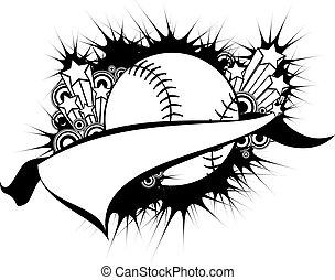 softball, baseball, oder, wimpel