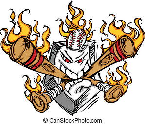 Softball Baseball Plate and Bats Fl - Cartoon Image of...