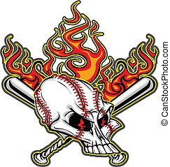 Softball Baseball Skull and Bats Fl