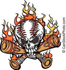 Cartoon Image of Flaming Baseball Bats and Skull with Baseball Laces