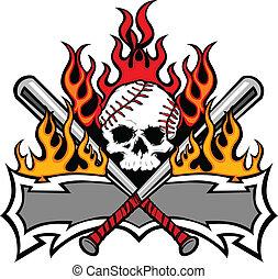 Flaming Baseball Bats and Skull Template Image