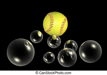 Softball baseball with bubbles