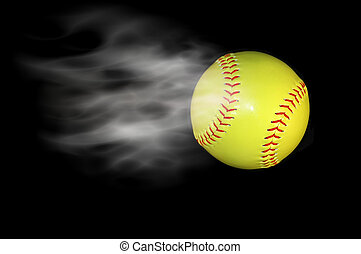 photographed baseball adding a cloud effect.