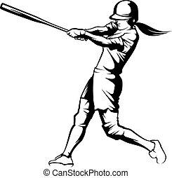 Softball Batter - Black and white illustration of a softball...