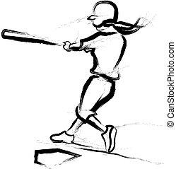 Softball Batter Brushed