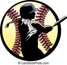 Softball Batter Closeup - a softball batter hitting a...